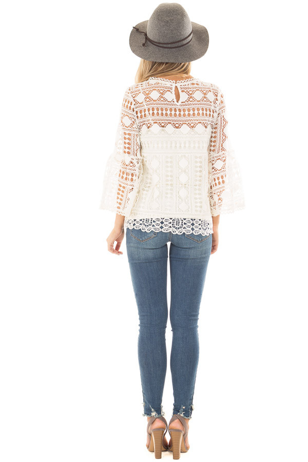 Ivory Sheer Lace Bell Sleeve Top back full body