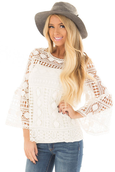 Ivory Sheer Lace Bell Sleeve Top front close up