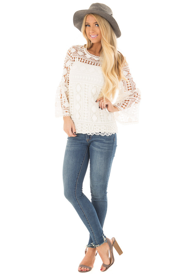 Ivory Sheer Lace Bell Sleeve Top front full body