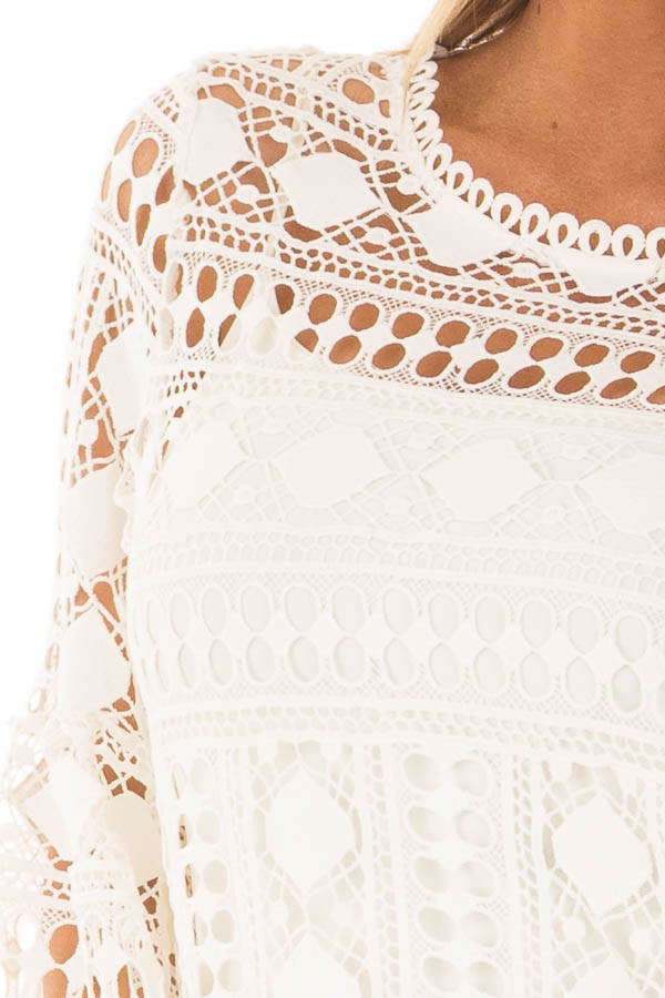 Ivory Sheer Lace Bell Sleeve Top detail