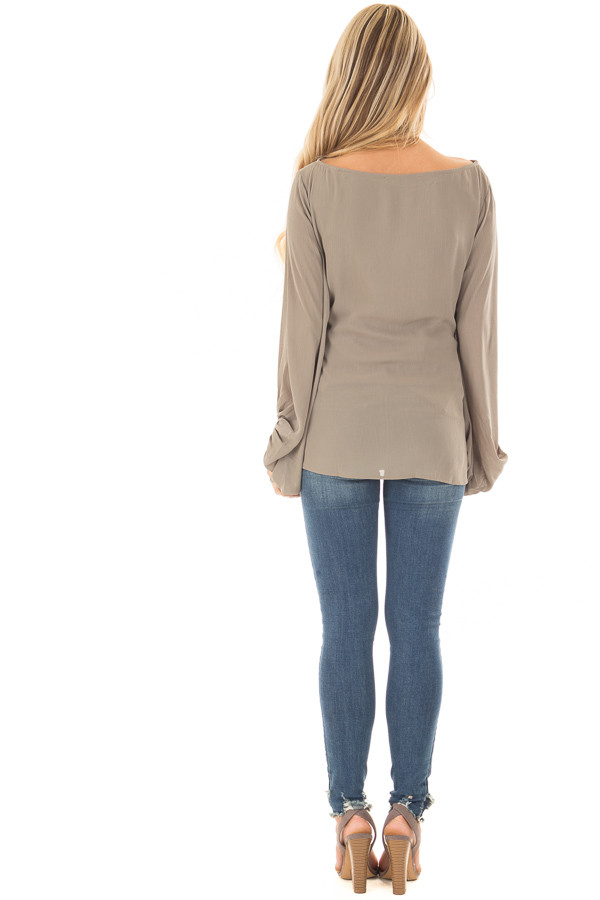 Olive Puff Sleeve Top with Waist Tie back full body