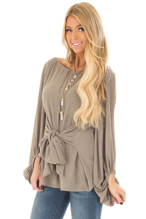 Olive Puff Sleeve Top with Waist Tie front closeup