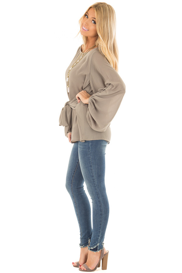 Olive Puff Sleeve Top with Waist Tie side full body