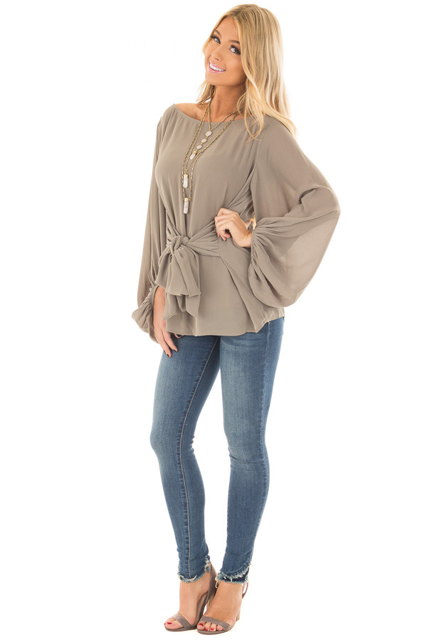 Olive Puff Sleeve Top with Waist Tie front full body
