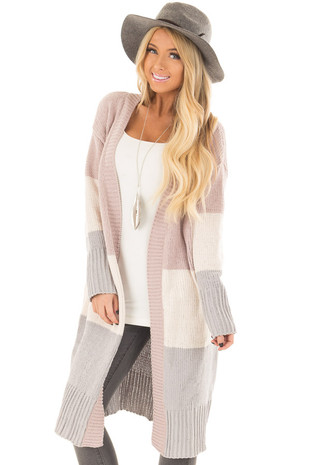 Mauve Ivory and Grey Color Blocked Long Soft Cardigan front closeup