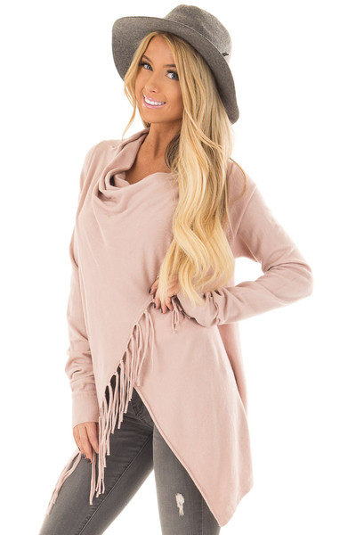 Dusty Blush Wrap Style Cardigan with Fringe Detail front closeup