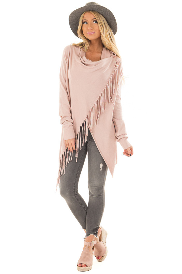 Dusty Blush Wrap Style Cardigan with Fringe Detail front full body