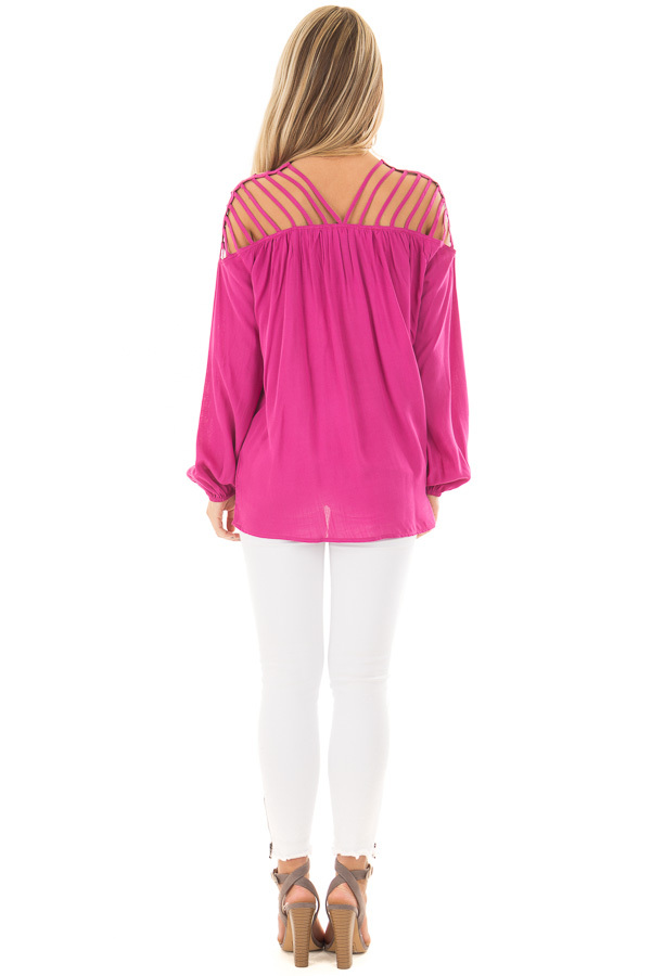Hot Pink Long Sleeve Top with Caged Neckline back full body