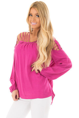 Hot Pink Long Sleeve Top with Caged Neckline front closeup