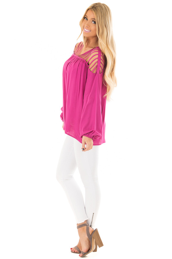Hot Pink Long Sleeve Top with Caged Neckline side full body