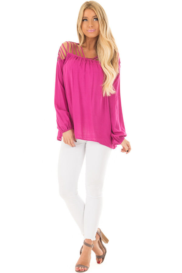 Hot Pink Long Sleeve Top with Caged Neckline front full body