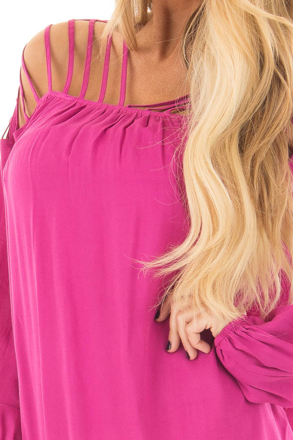 Hot Pink Long Sleeve Top with Caged Neckline front detail