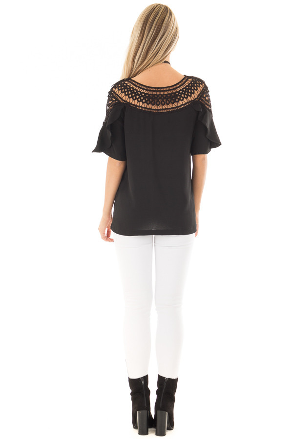 Black Ruffle Top with Sheer Lace Detail back full body