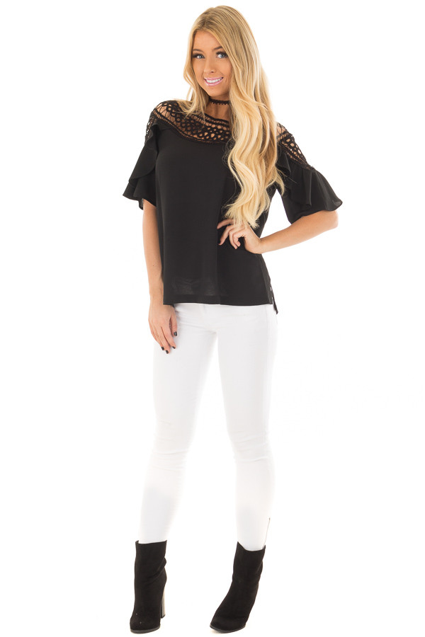 Black Ruffle Top with Sheer Lace Detail front full body