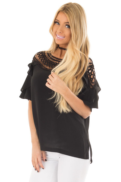 Black Ruffle Top with Sheer Lace Detail front close up