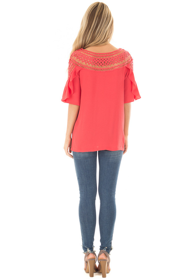 Coral Ruffle Top with Sheer Lace Detail back full body