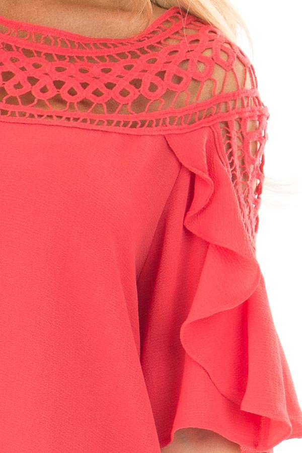 Coral Ruffle Top with Sheer Lace Detail front detail