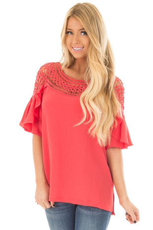 Coral Ruffle Top with Sheer Lace Detail front closeup