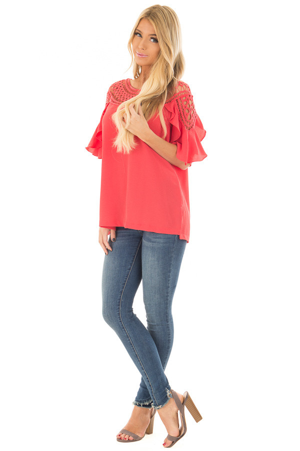 Coral Ruffle Top with Sheer Lace Detail front full body