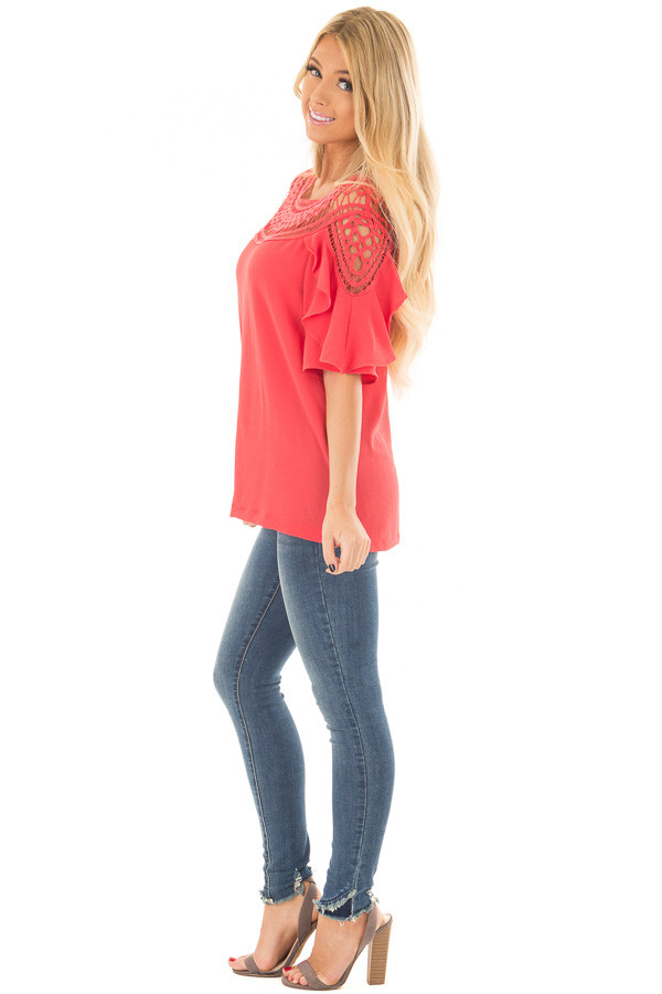 Coral Ruffle Top with Sheer Lace Detail side full body