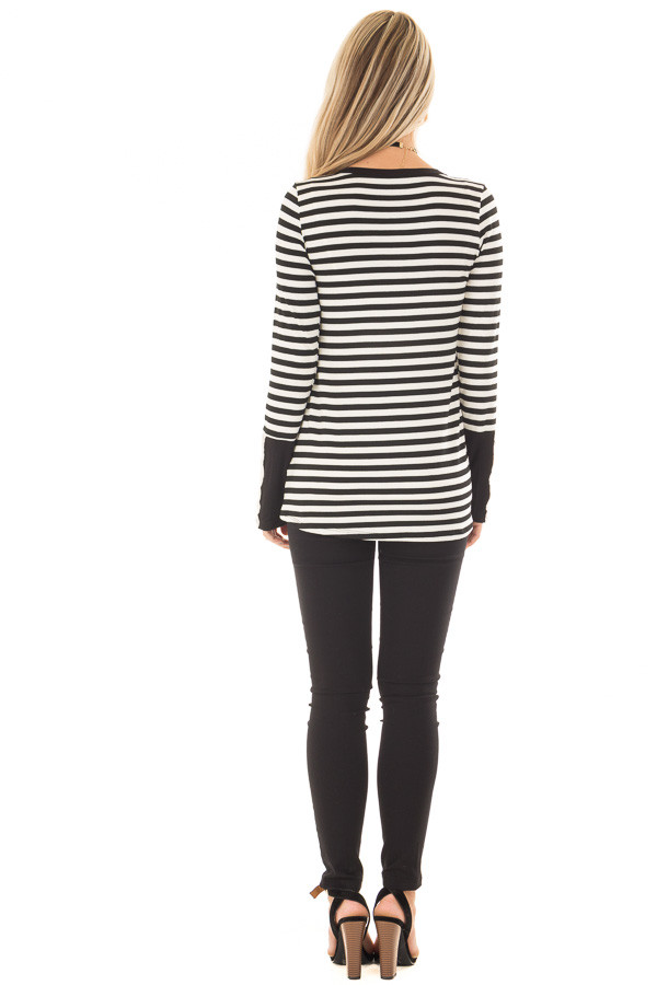 Black and Ivory Striped Top with Button Detail back full body