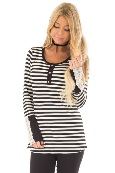 Black and Ivory Striped Top with Button Detail front closeup