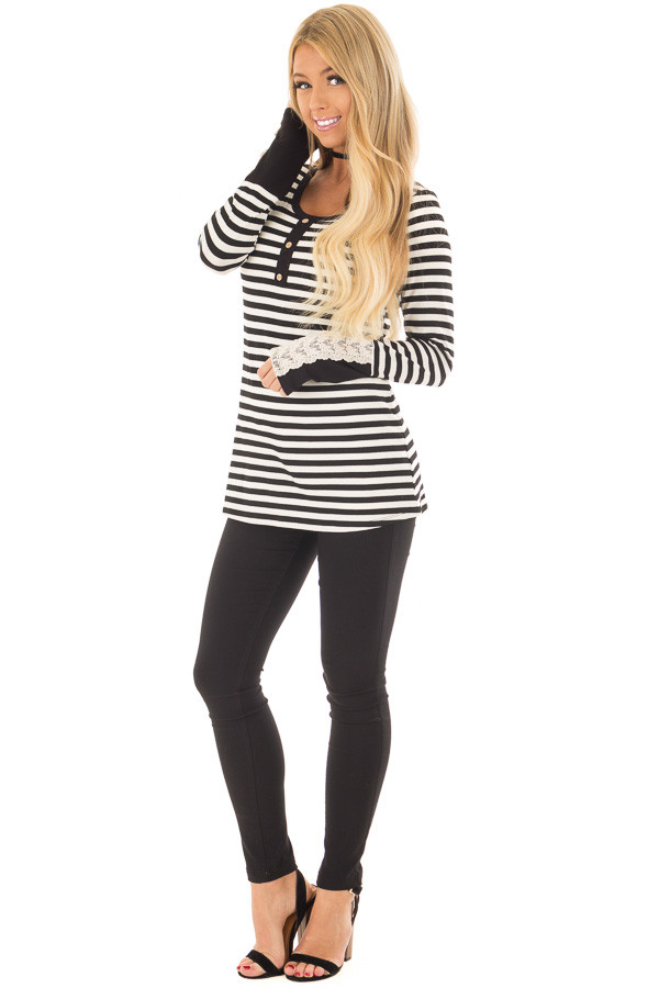 Black and Ivory Striped Top with Button Detail front full body