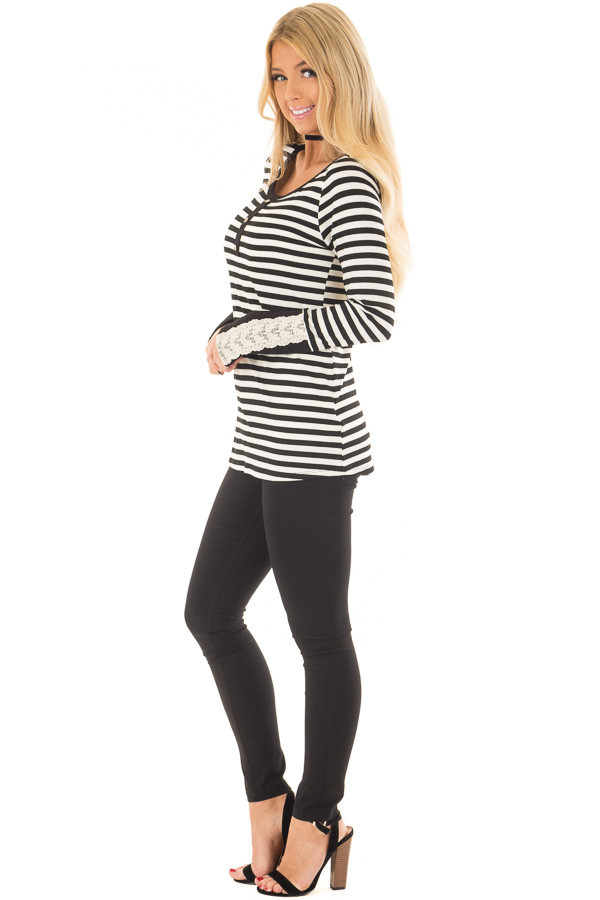 Black and Ivory Striped Top with Button Detail side full body