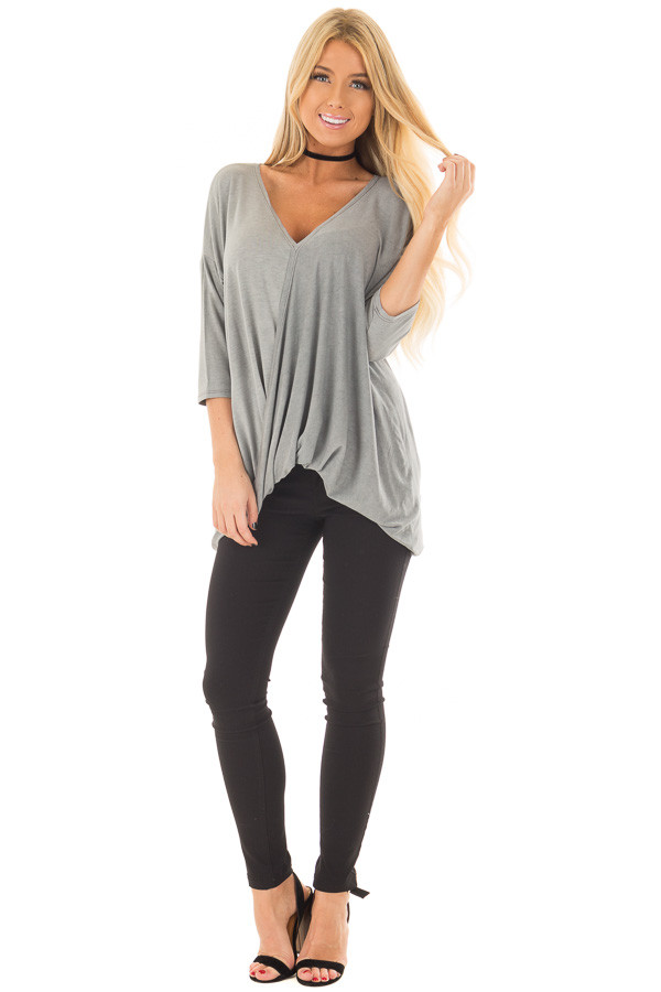Stormy Grey Crossover V Neck Top front full body
