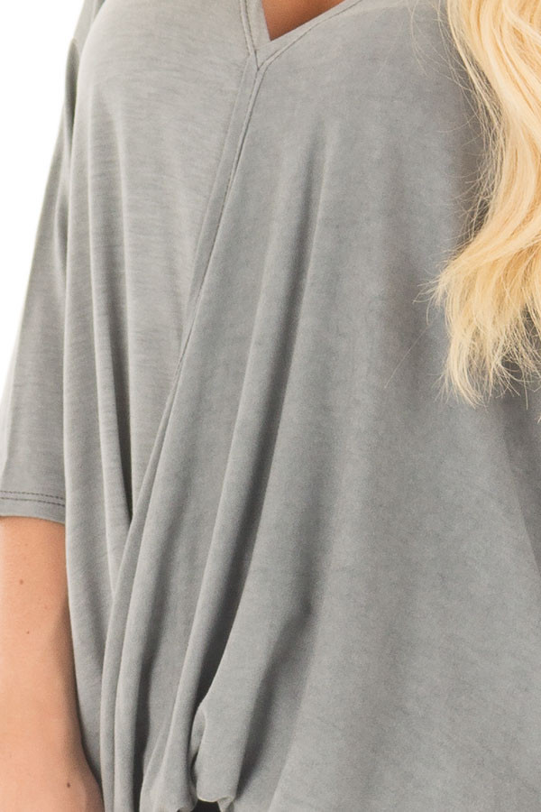 Stormy Grey Crossover V Neck Top front detail