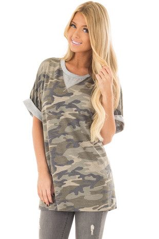 Olive Camo Print Tee Shirt with Heather Grey Contrast front closeup