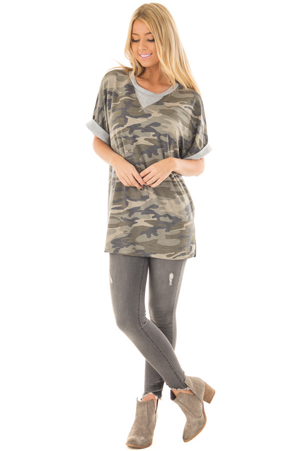 Olive Camo Print Tee Shirt with Heather Grey Contrast front full body