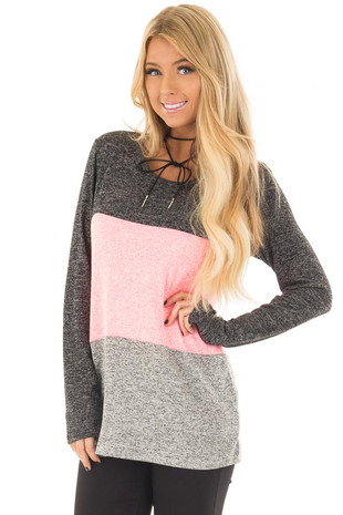 Neon Pink, Charcoal and Grey Color Block Top front closeup