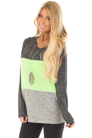Neon Green, Charcoal and Grey Color Block Top front closeup