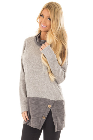 Light Grey Cowl Neck Sweater with Charcoal Contrast front closeup
