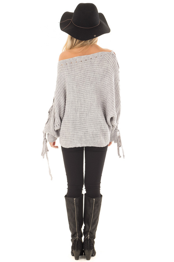 Cement Grey Off Shoulder Sweater with Lace Up Sleeves back full body