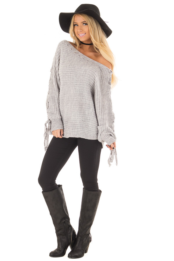 Cement Grey Off Shoulder Sweater with Lace Up Sleeves front full body
