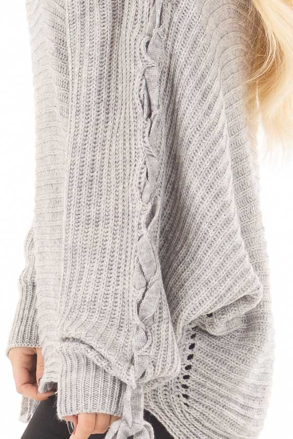Cement Grey Off Shoulder Sweater with Lace Up Sleeves side detail