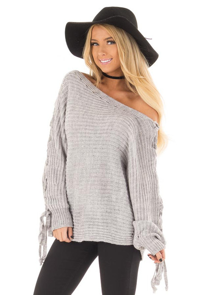 Cement Grey Off Shoulder Sweater with Lace Up Sleeves front closeup