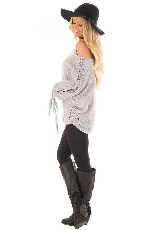 Cement Grey Off Shoulder Sweater with Lace Up Sleeves side full body