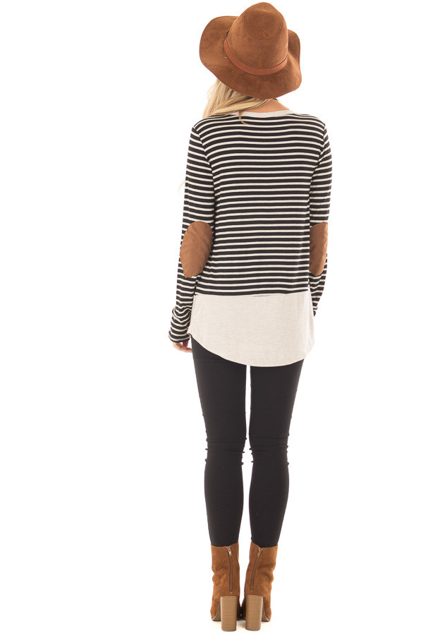 Black and Oatmeal Striped Top with Elbow Patches back full body