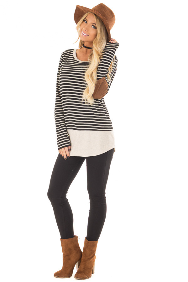 Black and Oatmeal Striped Top with Elbow Patches front full body
