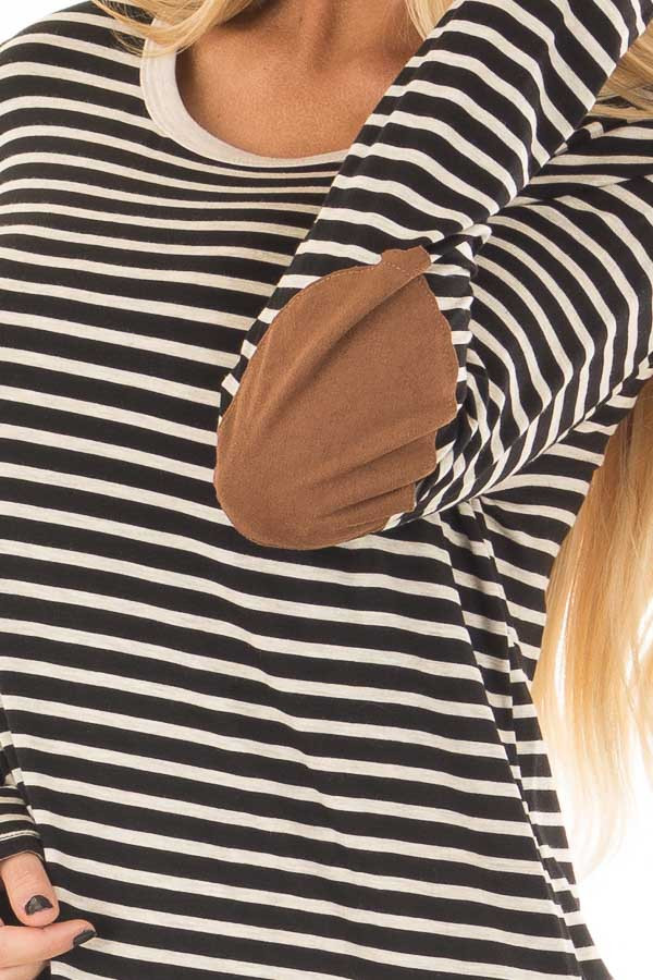 Black and Oatmeal Striped Top with Elbow Patches front detail