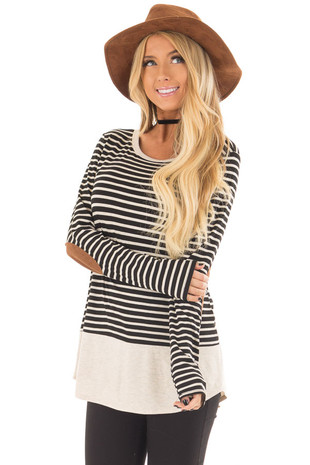 Black and Oatmeal Striped Top with Elbow Patches front closeup