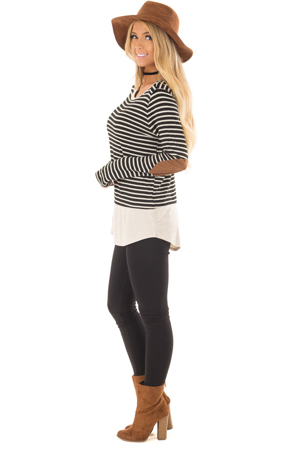 Black and Oatmeal Striped Top with Elbow Patches side full body