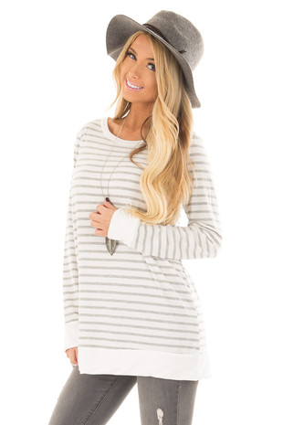 Ivory and Heather Grey Striped Long Sleeve Top front closeup