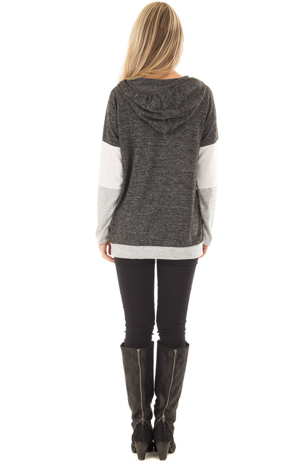 Charcoal, White and Grey Color Block Hoodie back full body