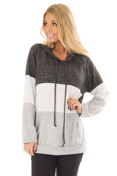 Charcoal, White and Grey Color Block Hoodie front closeup