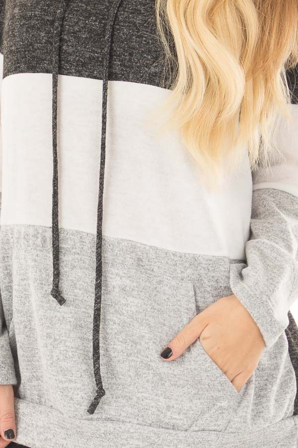 Charcoal, White and Grey Color Block Hoodie front detail