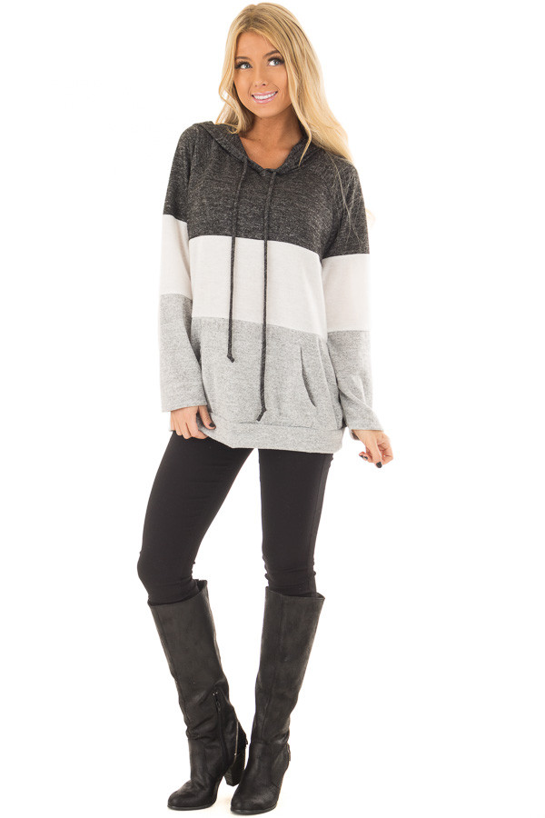 Charcoal, White and Grey Color Block Hoodie front full body